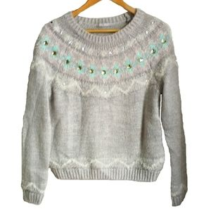3/30$ NEW LOOK Grey Fair Isles Bejeweled Sweater